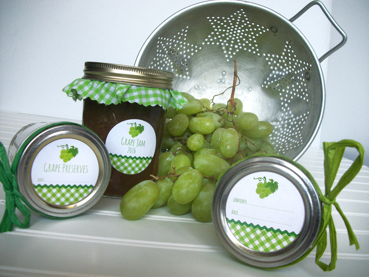 White Green Grape Canning Jar Labels | CanningCrafts.com