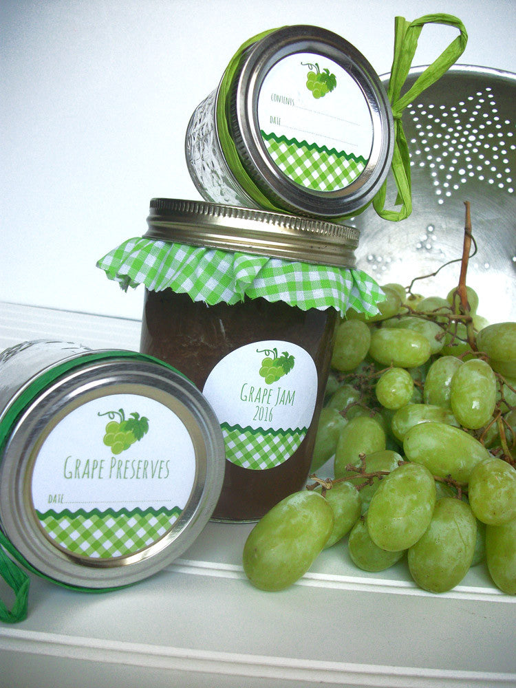 White Grape Preserves Canning Labels | CanningCrafts.com