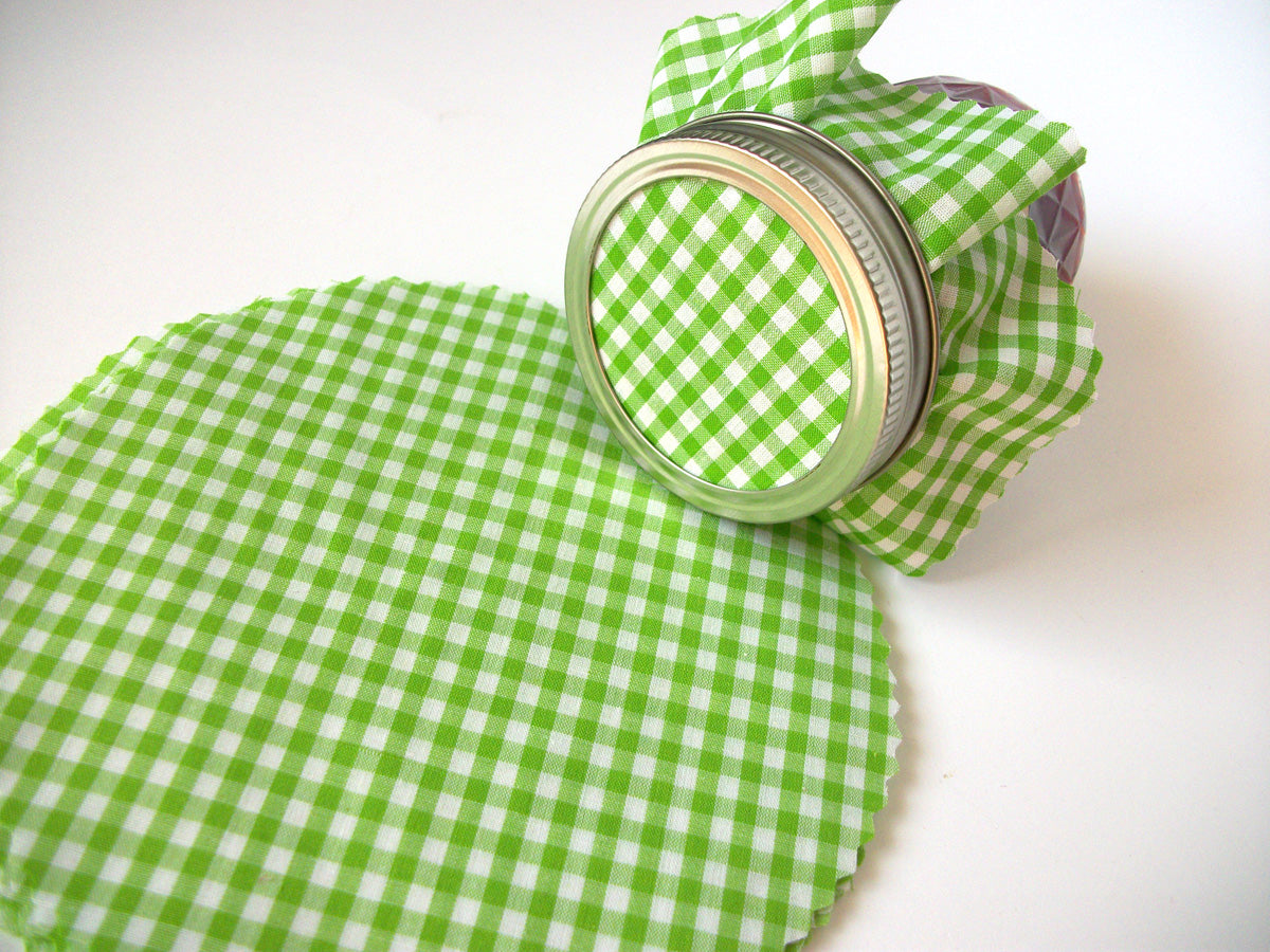 Green Gingham Jam Jar Covers | CanningCrafts.com