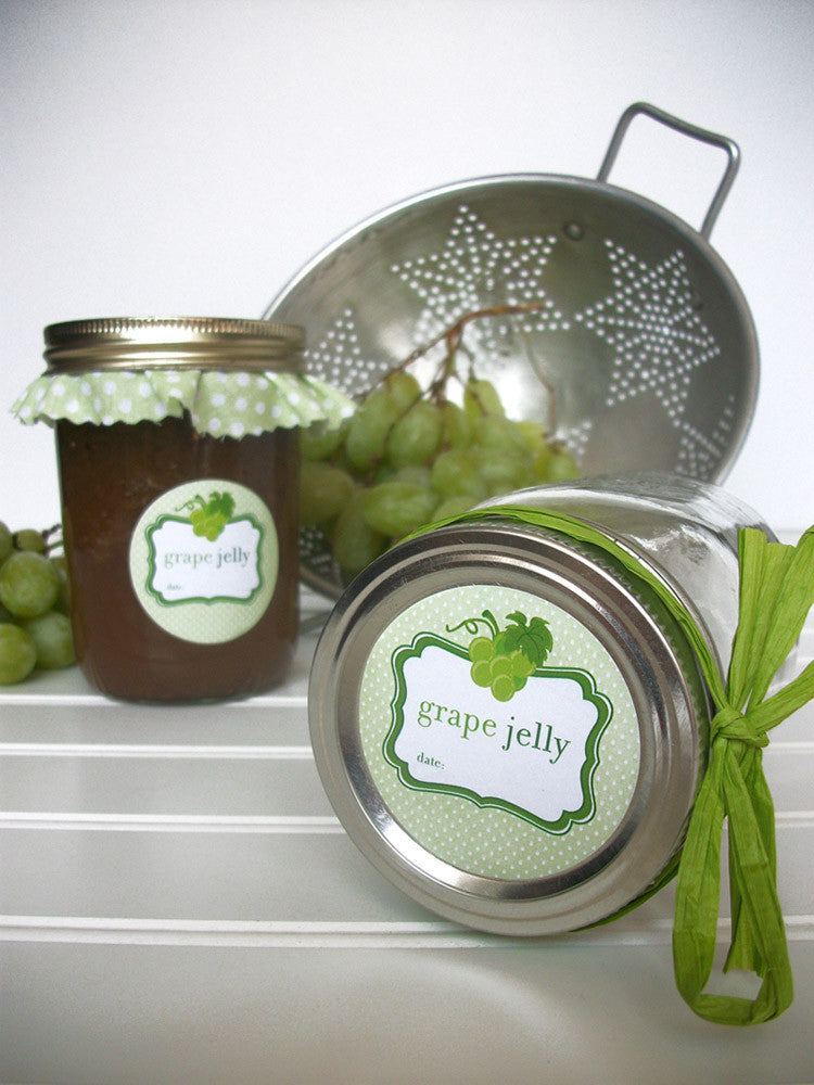 Green grape mason jar label