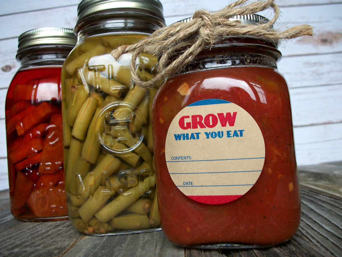Grow What You Eat Victory Garden Canning Jar Labels | CanningCrafts.com