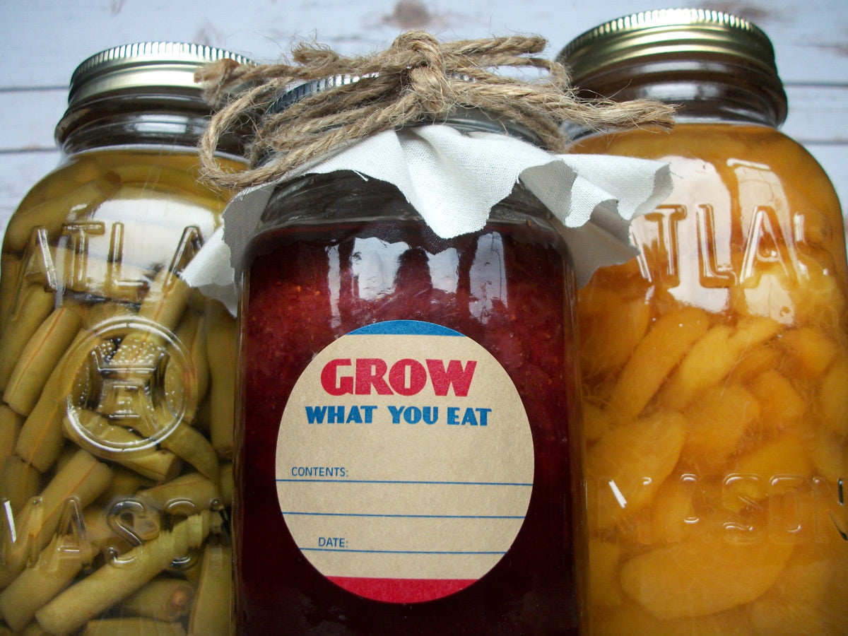 Grow What You Eat Victory Garden Canning Labels | CanningCrafts.com