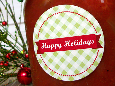 Happy Holidays Christmas Canning Labels | CanningCrafts.com