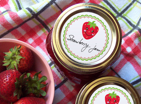 Happy Strawberry Jam Jar Labels | CanningCrafts.com