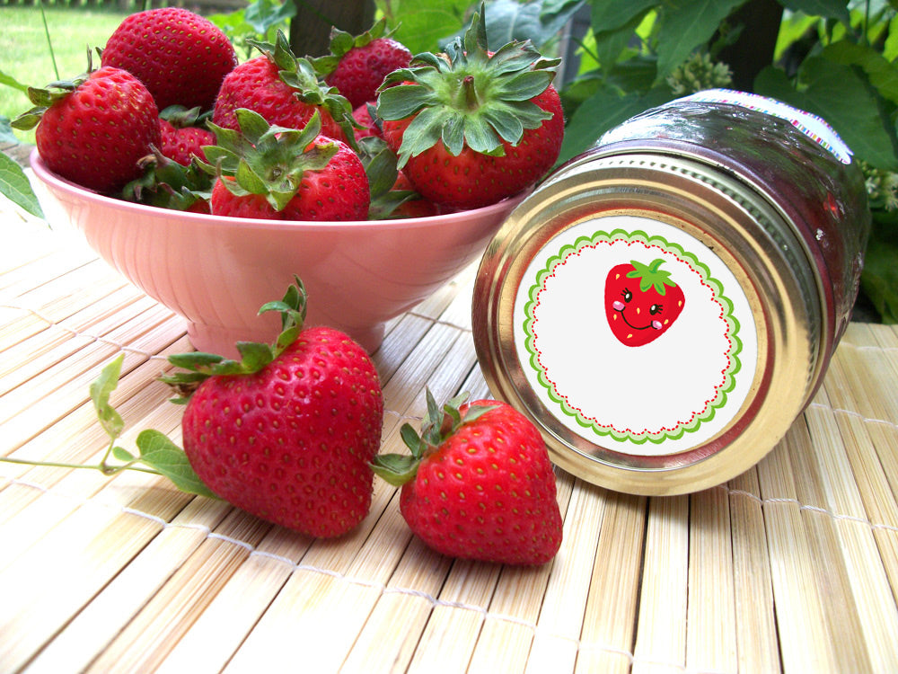 Happy Strawberry Canning Labels | CanningCrafts.com