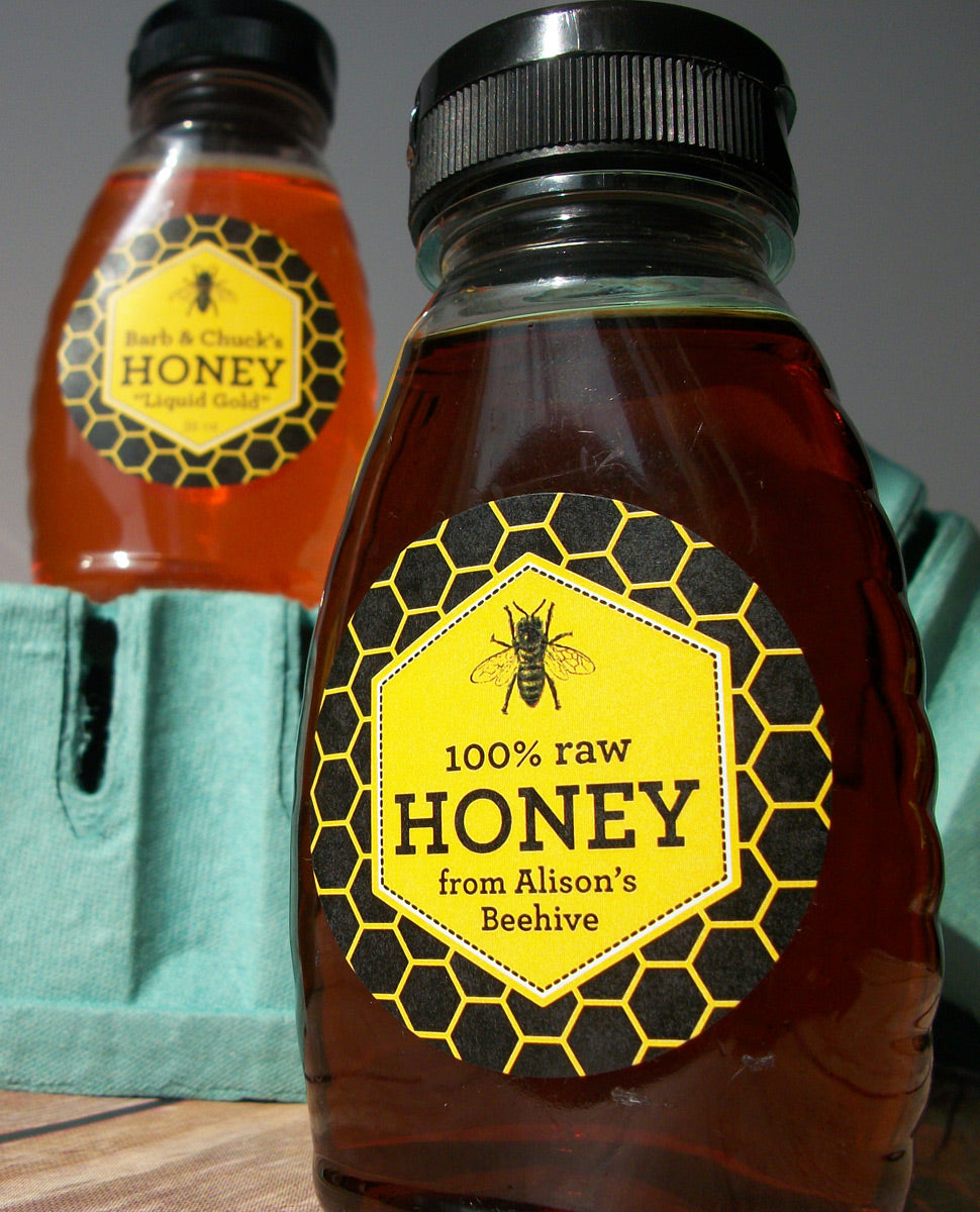 custom honey bee label for backyard beekeepers | CanningCrafts.com