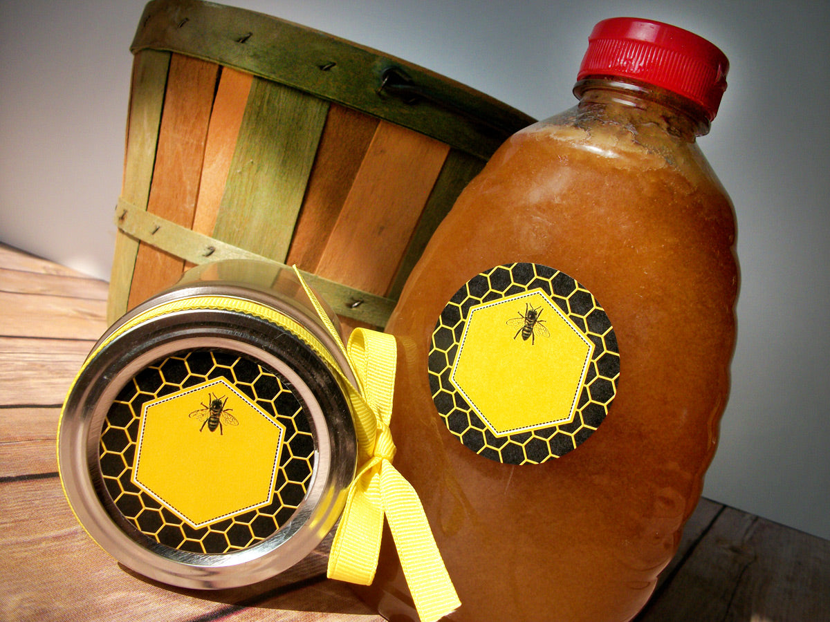 yellow & black beehive honey bottle labels | CanningCrafts.com