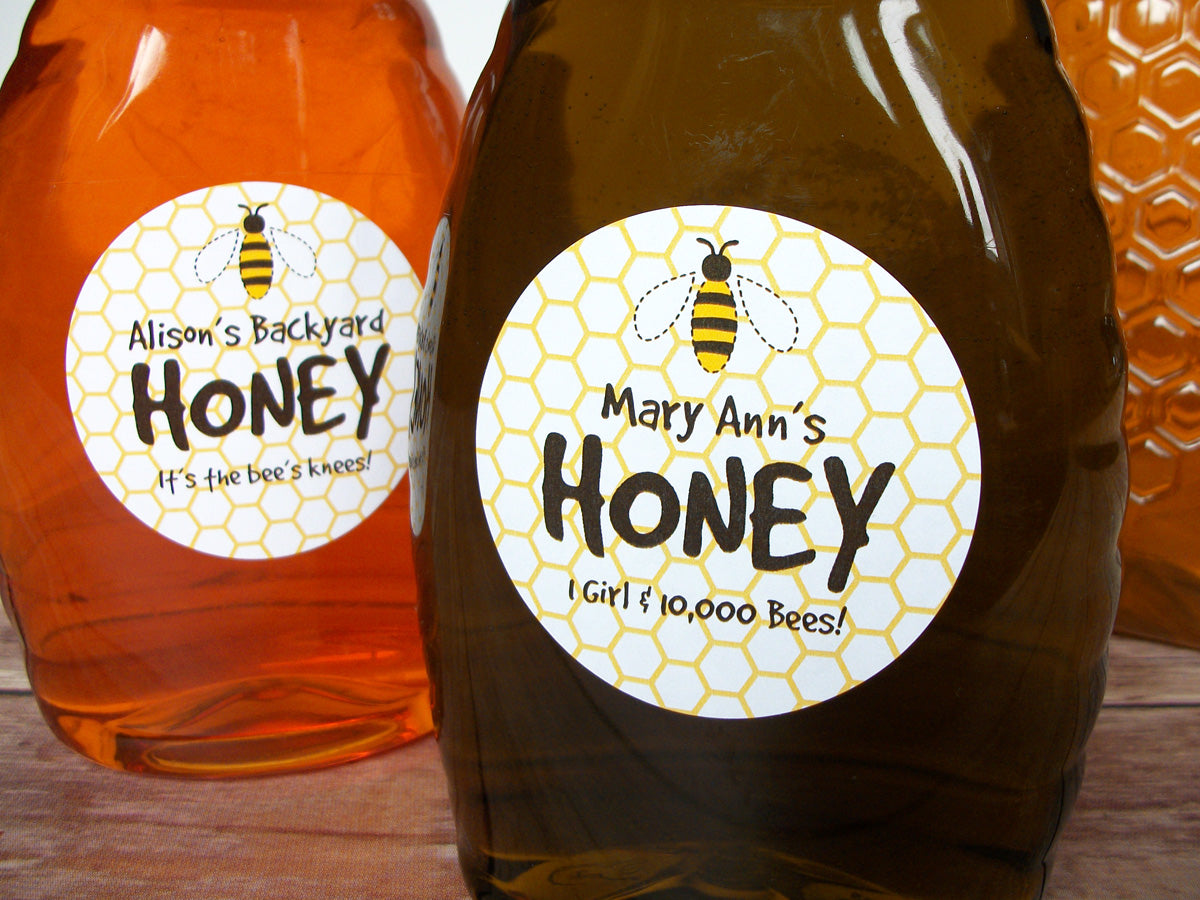 Cute honey bee custom honey labels | CanningCrafts.com