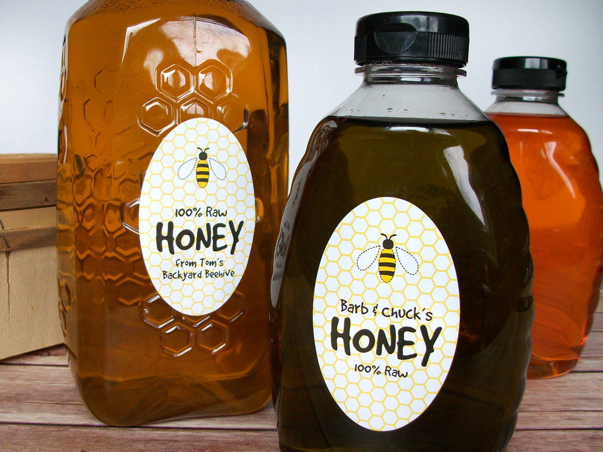 Custom Cute Honey Bee Large Oval Honey Bottle Labels | CanningCrafts.com