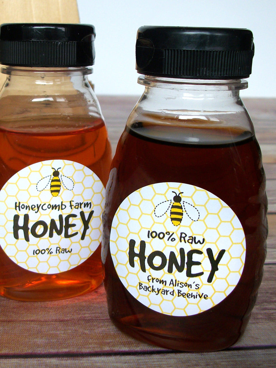 Cute honey bee custom honey jar labels | CanningCrafts.com