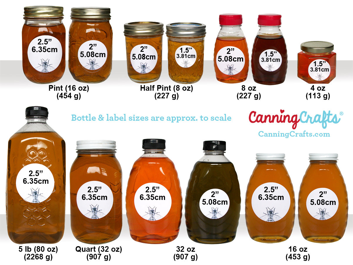 honey jar & bottle label size chart | CanningCrafts.com
