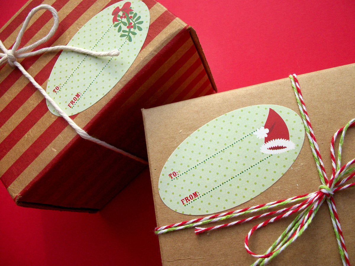 Oval Christmas Labels