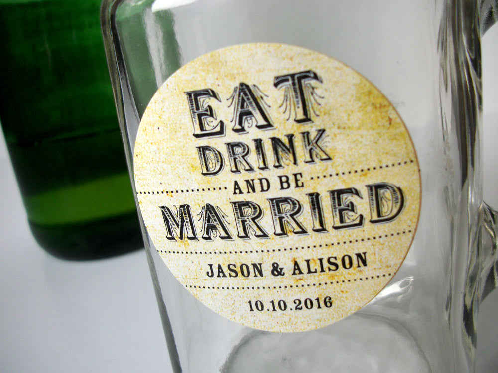 custom Eat Drink and Be Married wedding labels | CanningCrafts.com