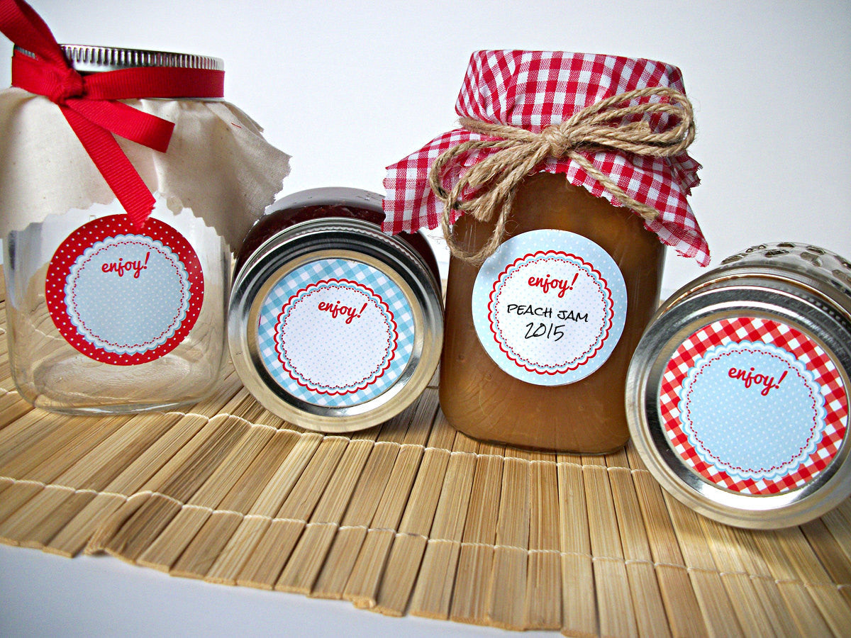 Cottage Chic Red & Blue Mason Canning Jar Labels  | CanningCrafts.com