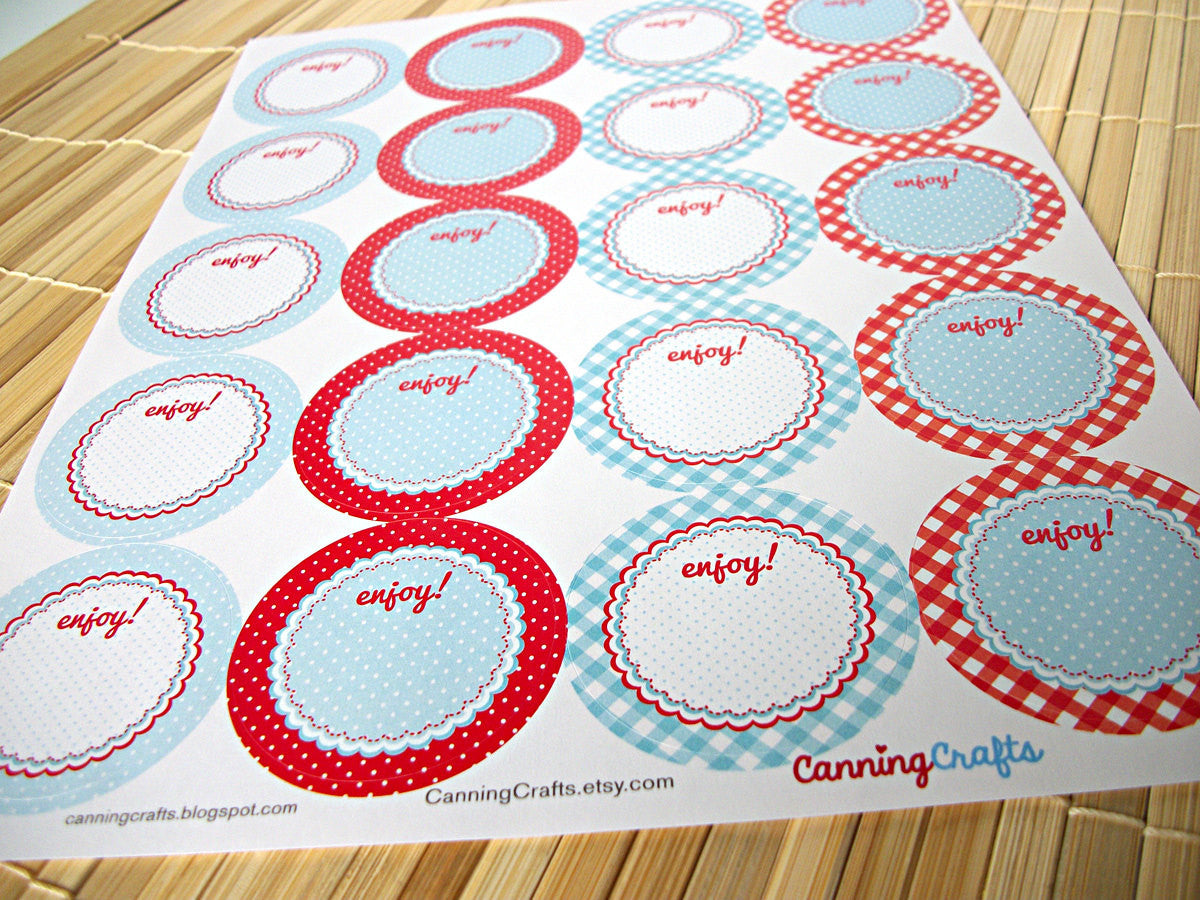 Cottage Chic Red & Blue Canning Labels  | CanningCrafts.com
