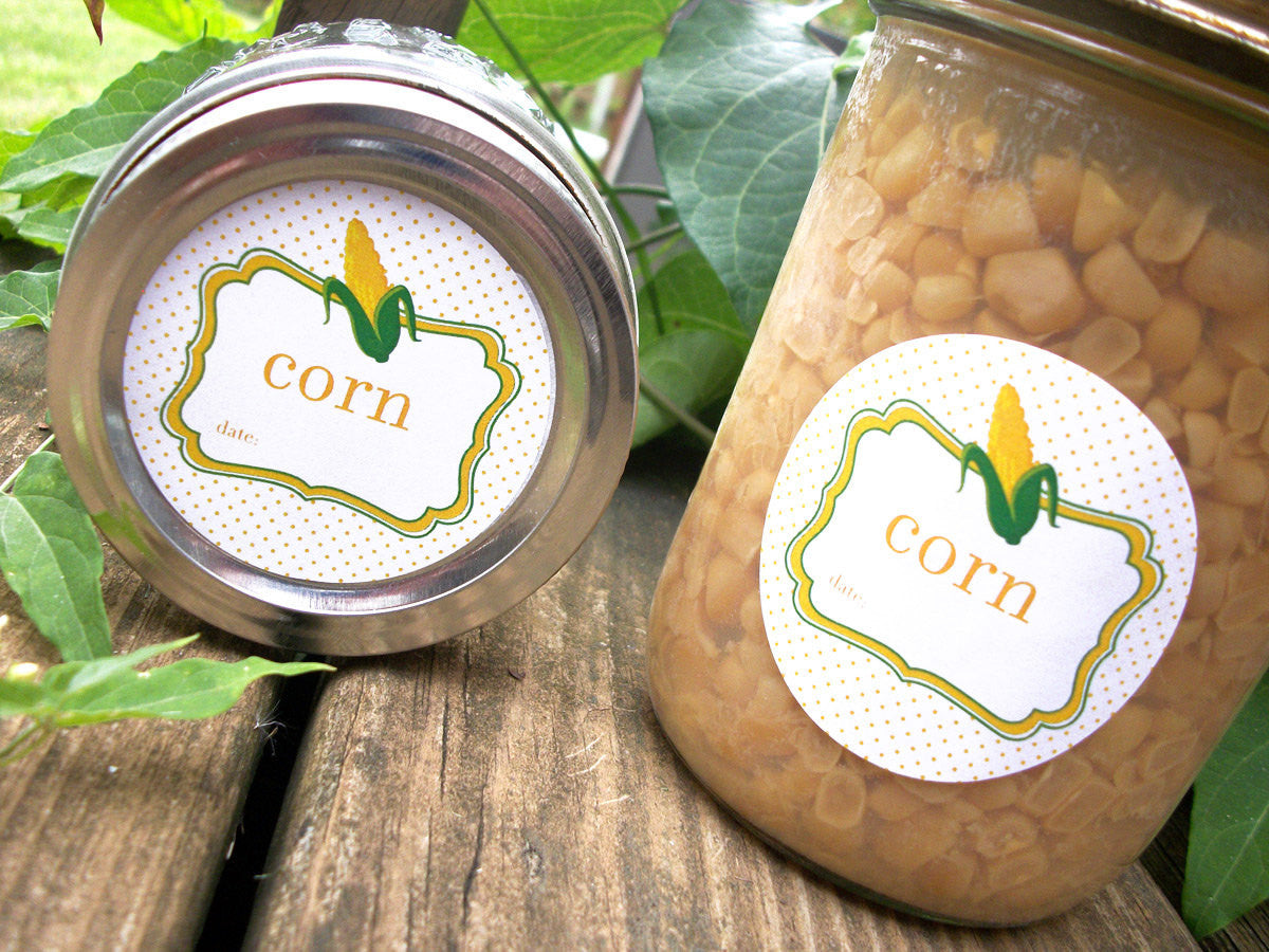 Corn Canning Labels for home preserved vegetables | CanningCrafts.com
