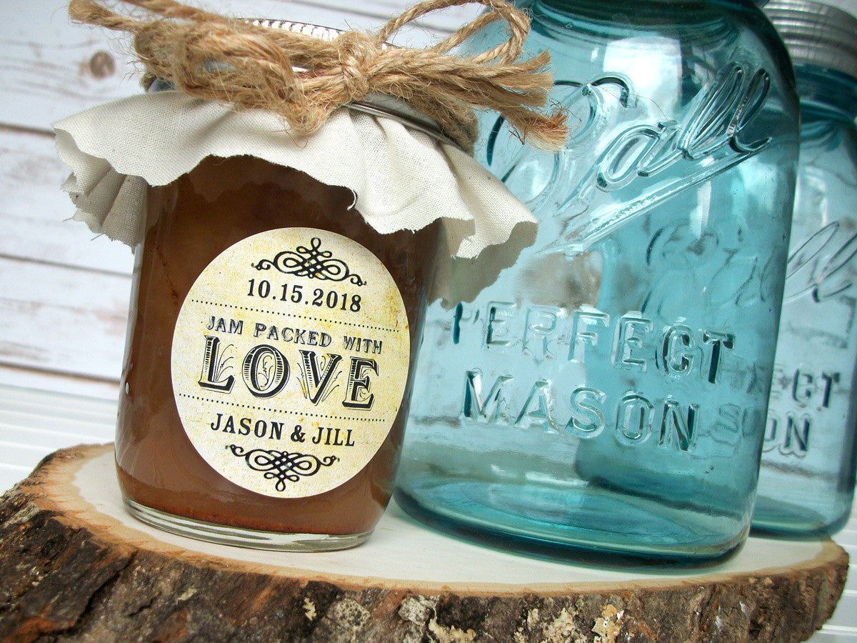 custom jam packed with love wedding favor label