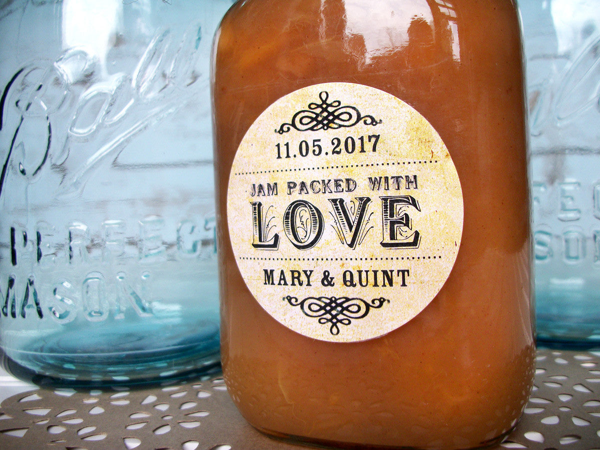 custom jam packed with love wedding label