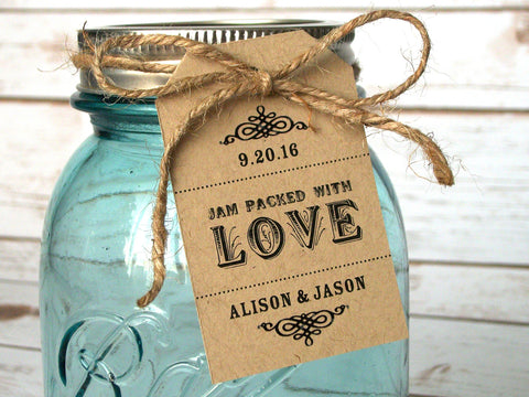 Custom Jam Packed with Love Wedding shower favor hang tags | CanningCrafts.com