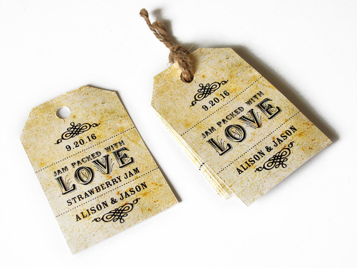 Custom Jam Packed with Love Wedding favor hang tags | CanningCrafts.com