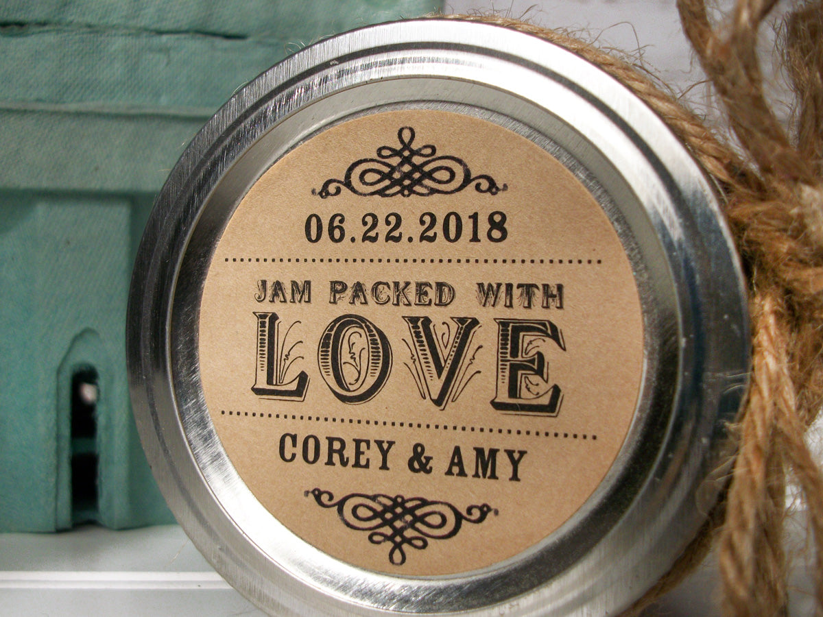 custom jam packed with love wedding label | CanningCrafts.com