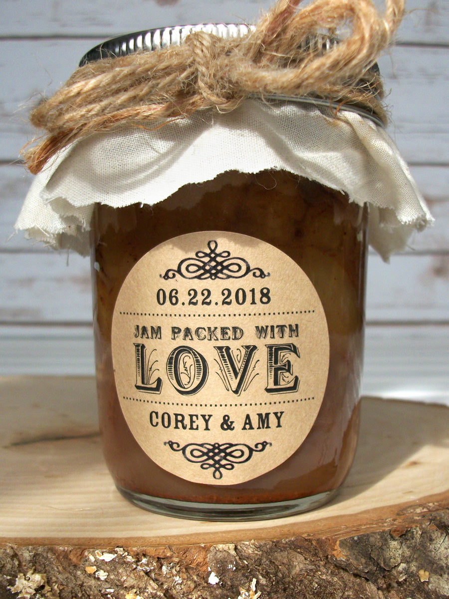 custom jam packed with love wedding favor label | CanningCrafts.com