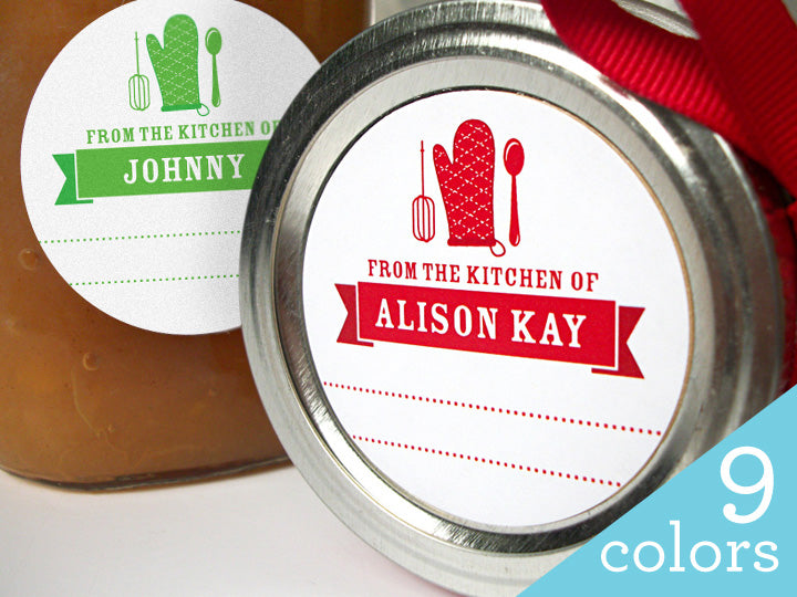 custom colorful holiday kitchen labels from the kitchen of labels