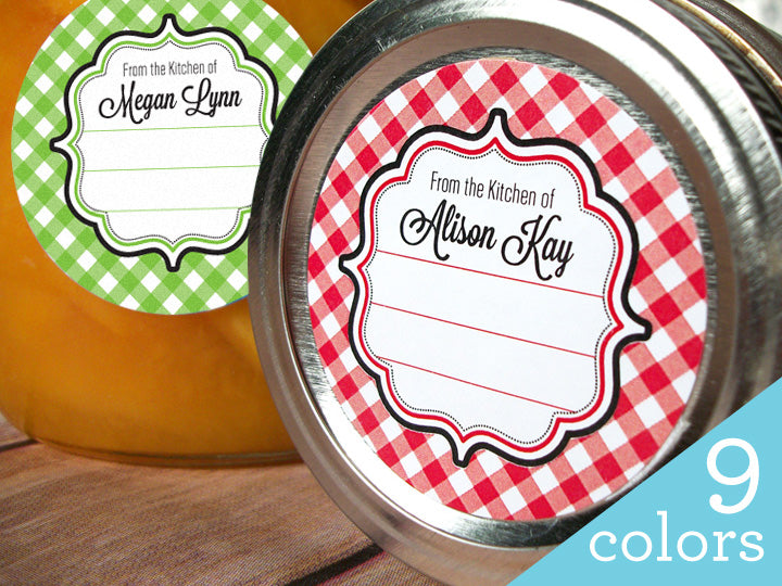 Custom Gingham Kitchen Labels | CanningCrafts.com
