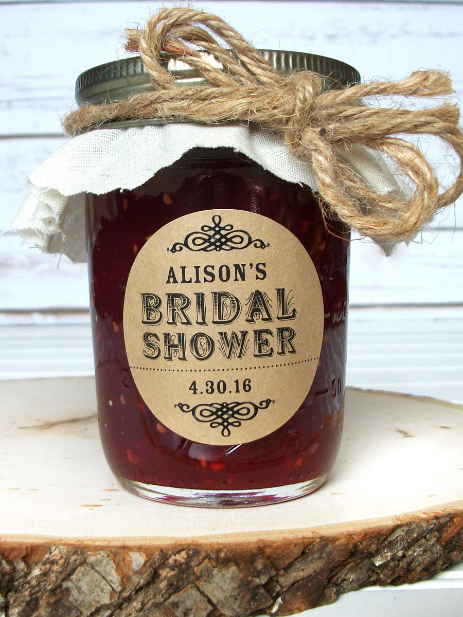Kraft Bridal Shower Jam Jar Favor Labels | CanningCrafts.com