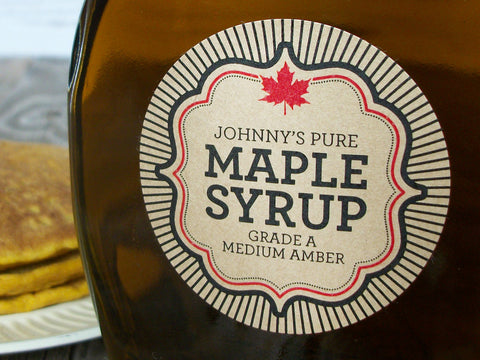 Kraft Burst Custom Maple Syrup labels | CanningCrafts.com