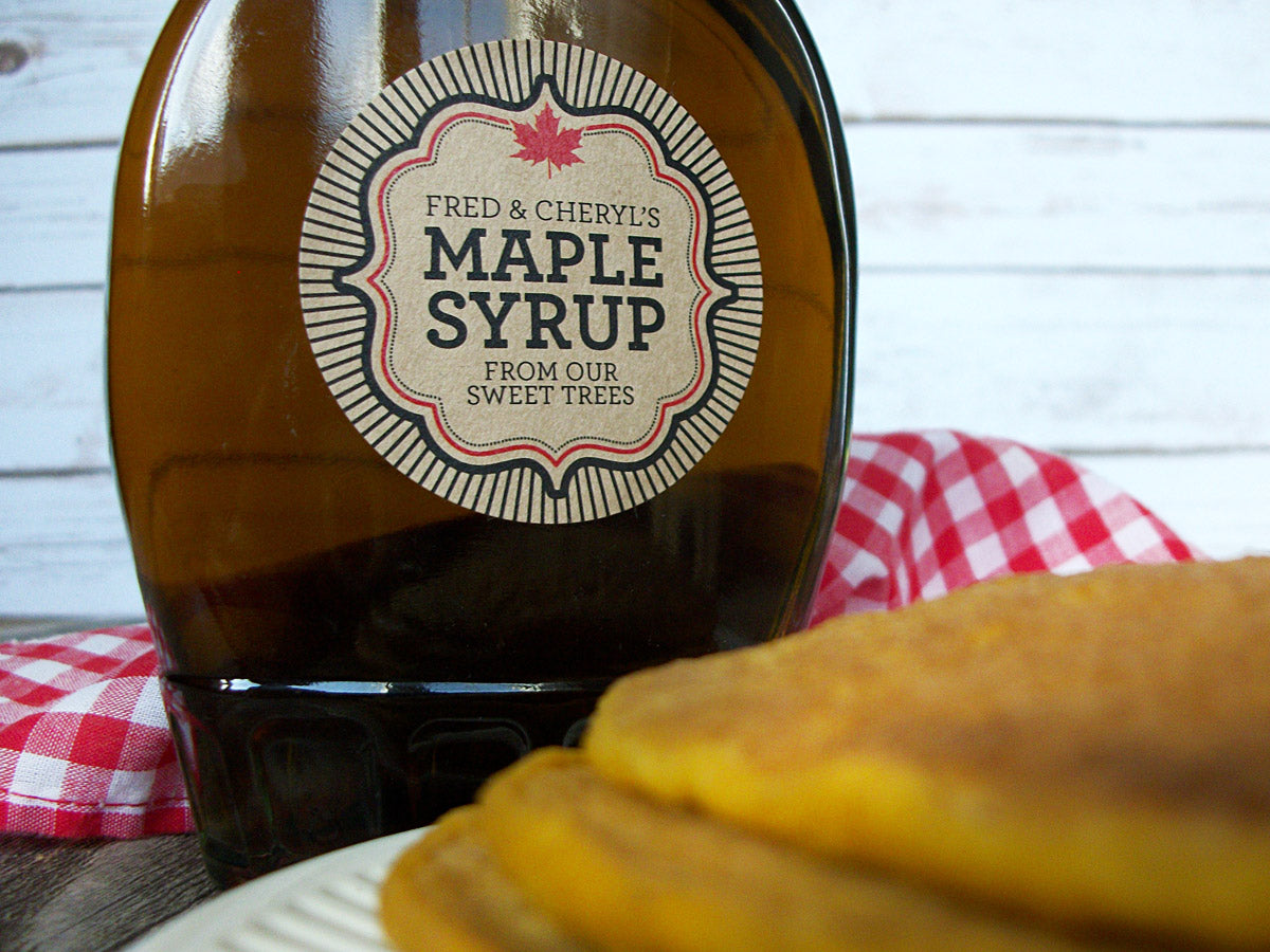 Kraft Burst Custom Maple Syrup stickers | CanningCrafts.com