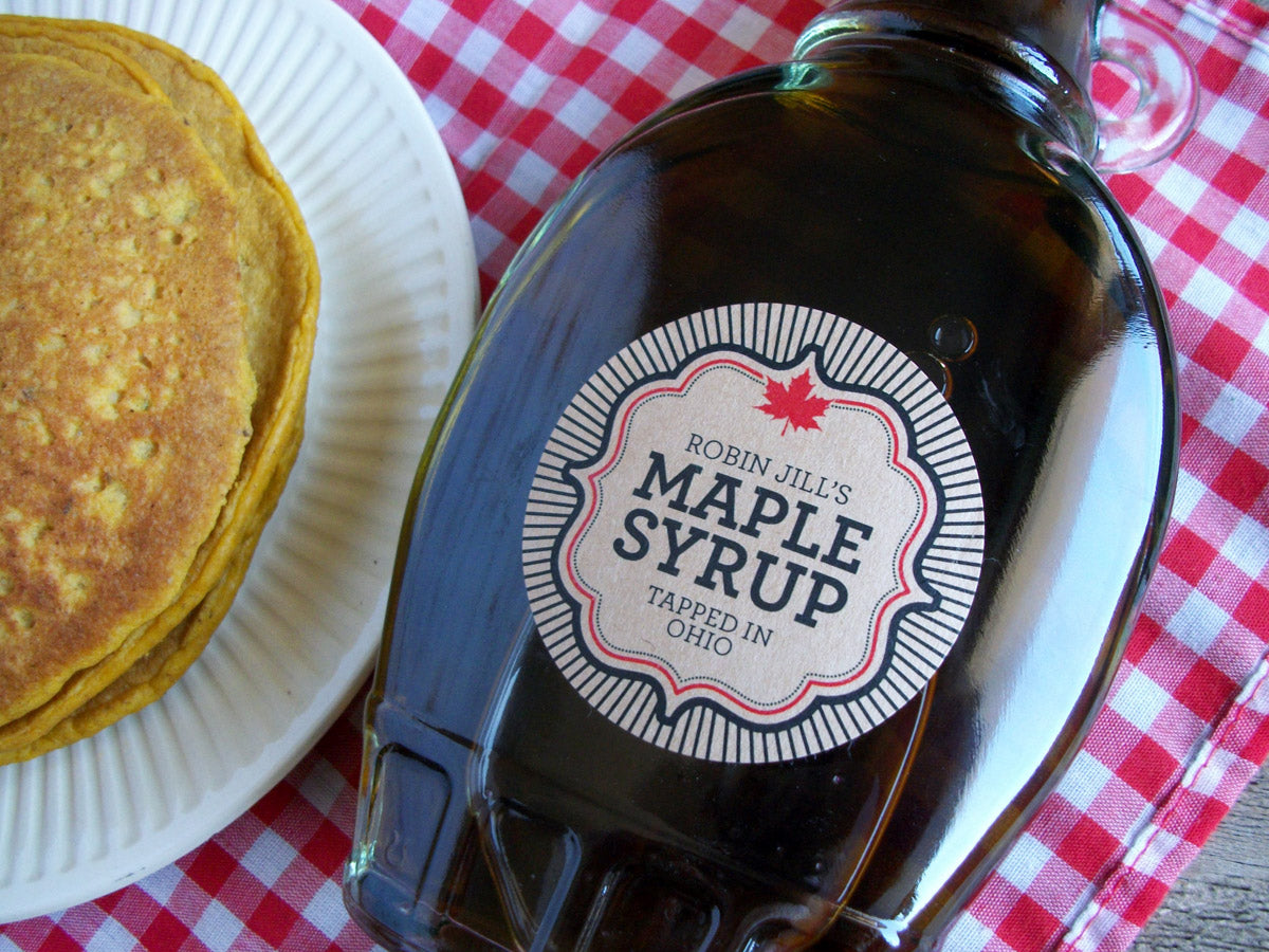 Kraft Burst Custom Maple Syrup bottle labels | CanningCrafts.com