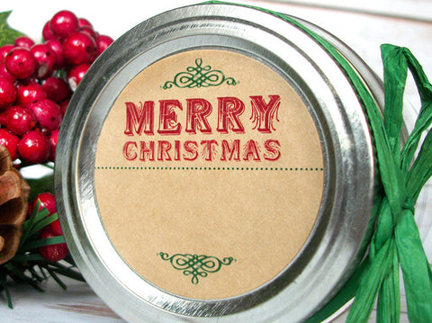 Vintage Kraft Merry Christmas Canning Labels | CanningCrafts.com