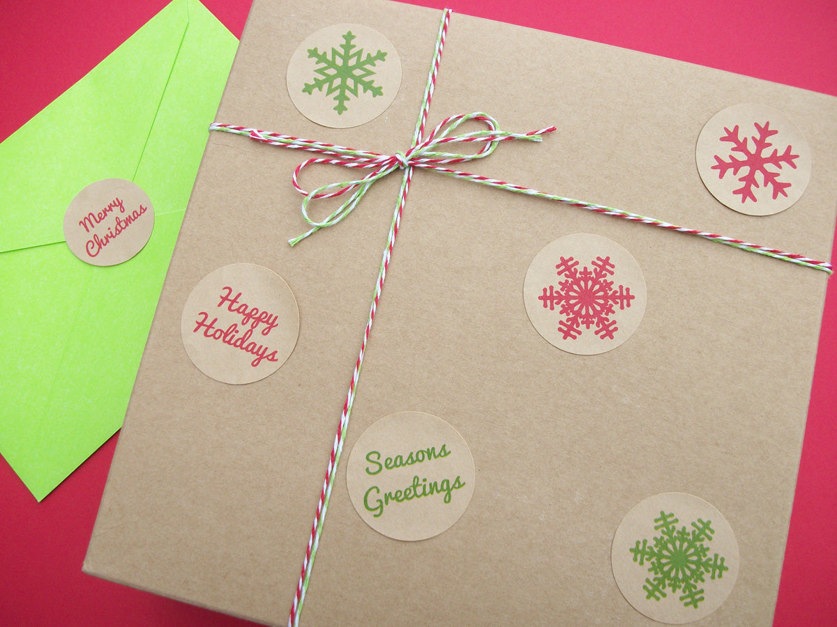 Kraft Christmas Snowflake Labels | CanningCrafts.com