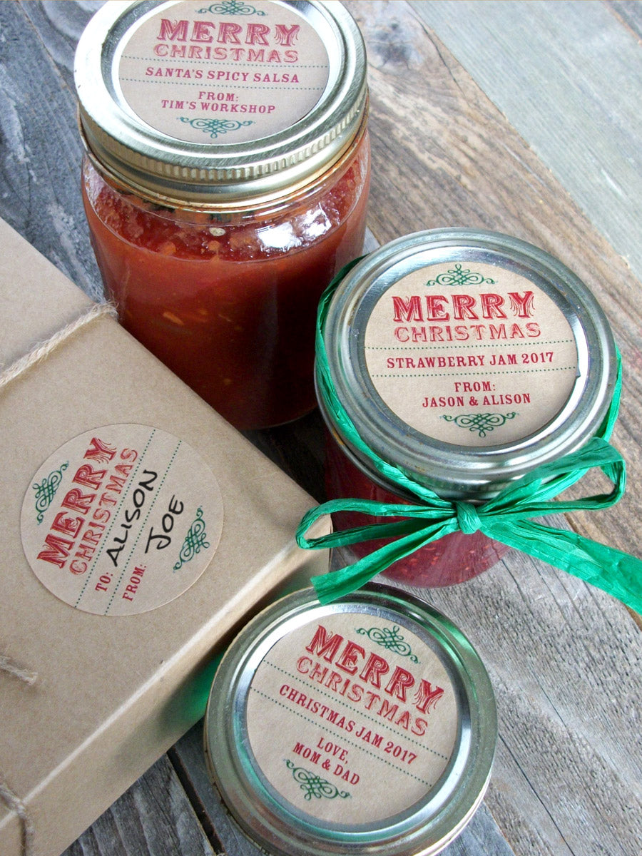Custom Kraft Christmas Canning Labels | CanningCrafts.com