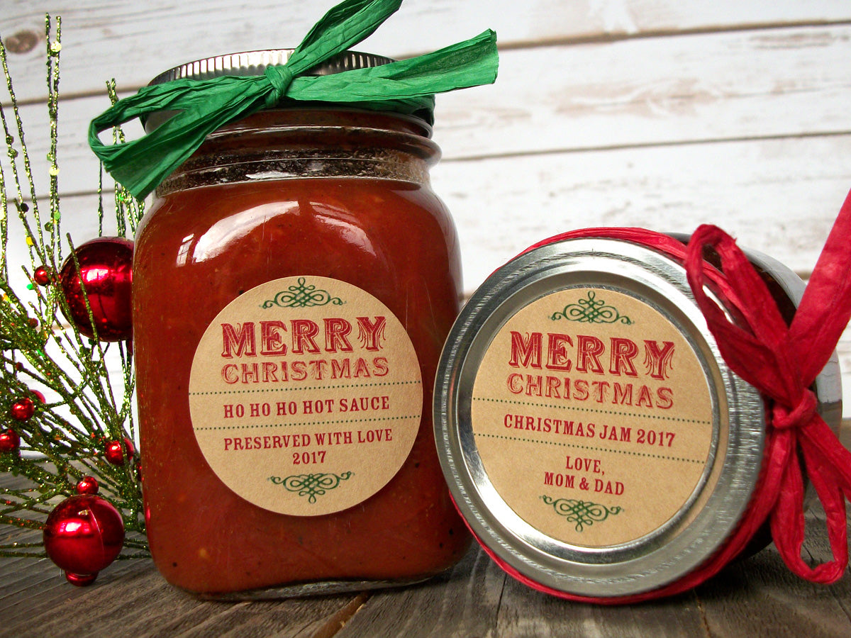 Custom Kraft  Merry Christmas Canning Labels | CanningCrafts.com