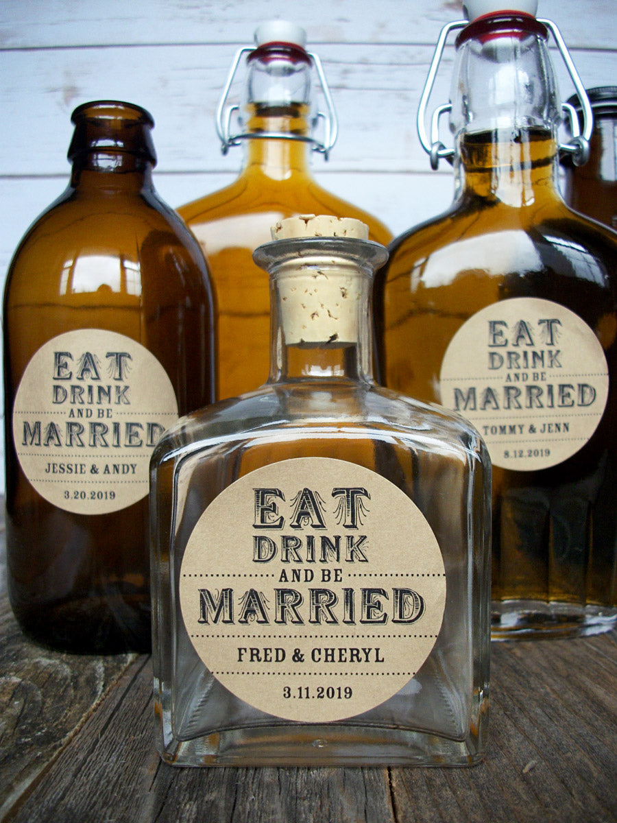 Custom Kraft Eat Drink & Be Married Wedding Wine & Alcohol Bottle Labels | CanningCrafts.com