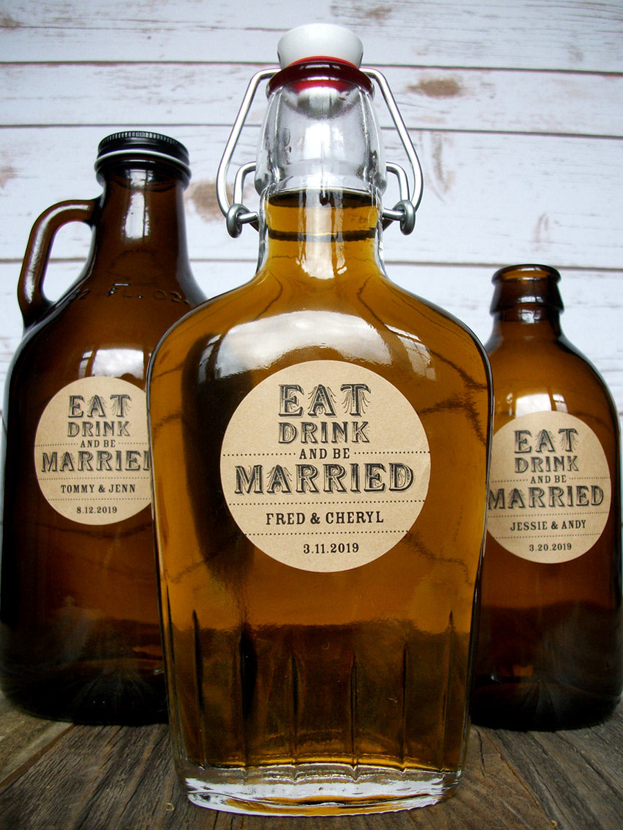 Custom Kraft Eat Drink & Be Married Wedding Alcohol Labels | CanningCrafts.com