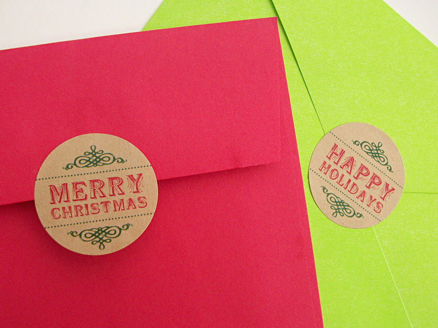 merry christmas happy holidays labels | CanningCrafts.com