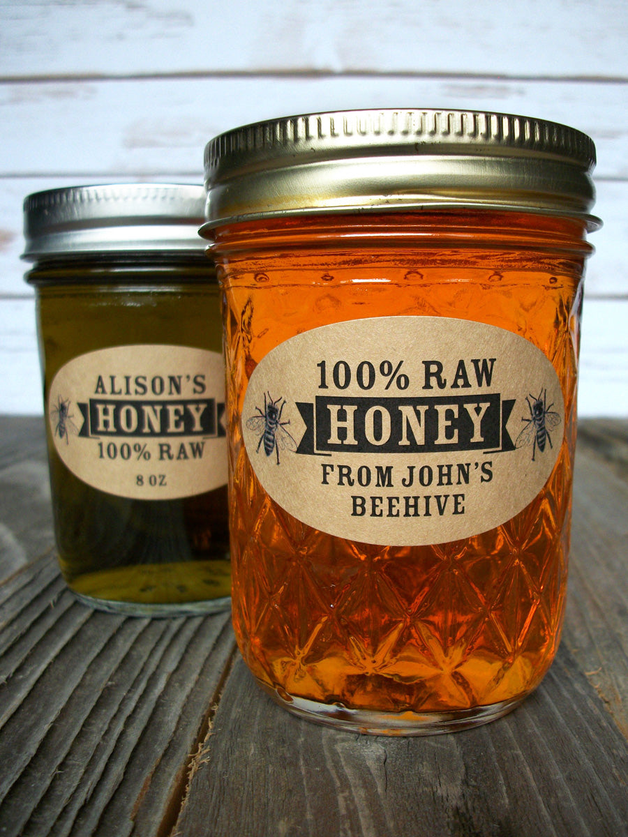 custom kraft honey labels fit quilted Ball jars | CanningCrafts.com