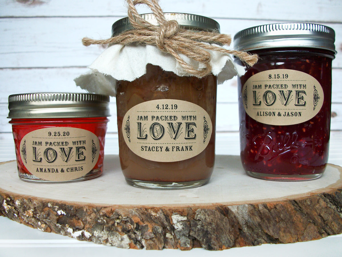 Kraft Oval Jam Packed with Love Wedding Jam Jar Labels | CanningCrafts.com