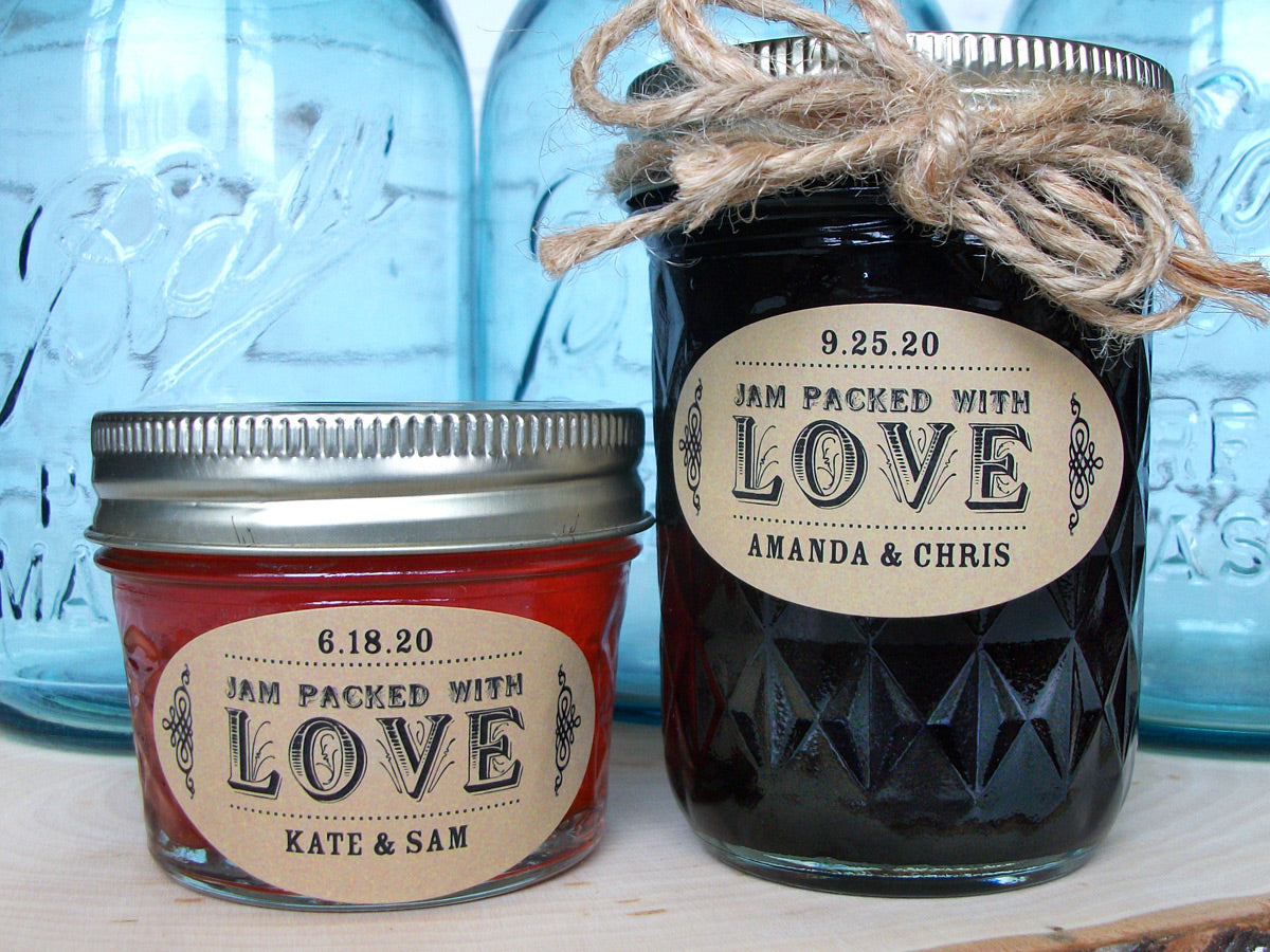 Kraft Oval Jam Packed with Love Wedding Favor Canning Labels | CanningCrafts.com