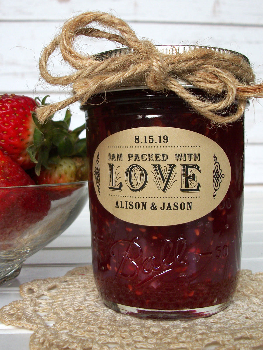 Kraft Oval Jam Packed with Love Wedding Canning Jam Jar Labels | CanningCrafts.com
