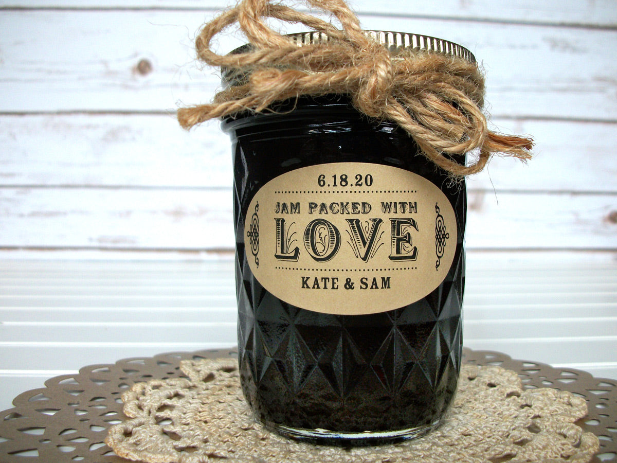 Kraft Oval Jam Packed with Love Wedding Jam Jar Canning Labels | CanningCrafts.com