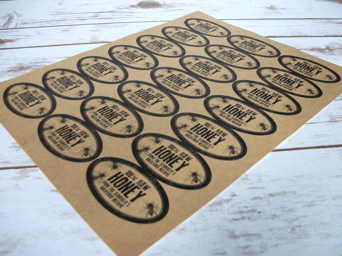 Custom Kraft Rubber Stamp Oval Honey Jar Labels