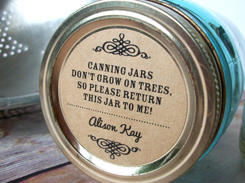 Custom Kraft Canning Jars Don't Grow on Trees Return Jar Poem Canning Labels | CanningCrafts.com