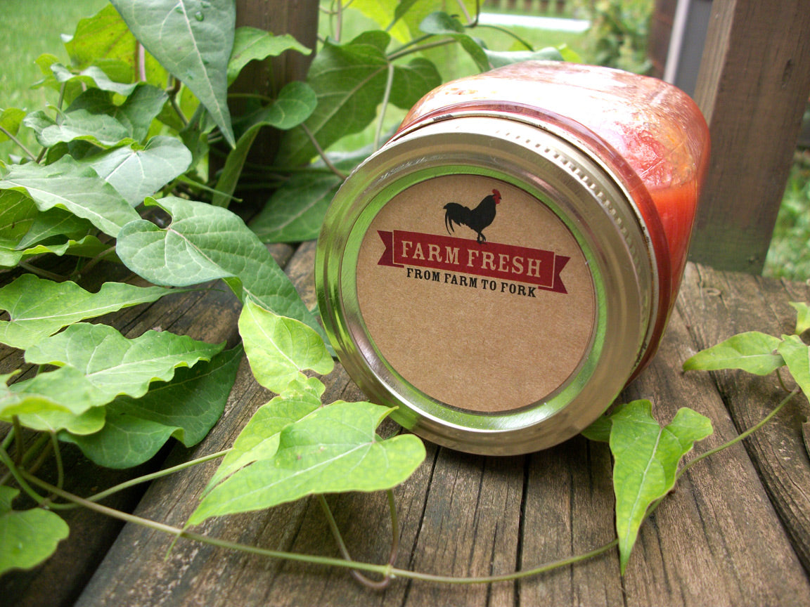 Kraft Farm Fresh Rooster Canning Labels | CanningCrafts.com