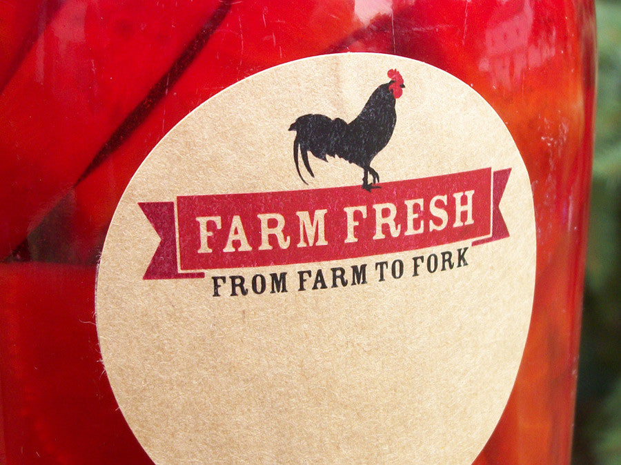 Farm Fresh Rooster From Farm to Fork Canning Labels | CanningCrafts.com