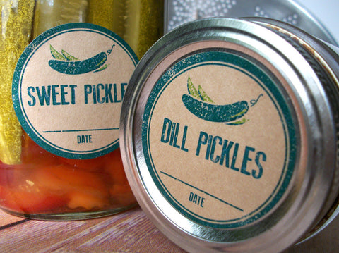 Kraft Rubber Stamp Dill & Sweet Pickle Canning Labels | CanningCrafts.com