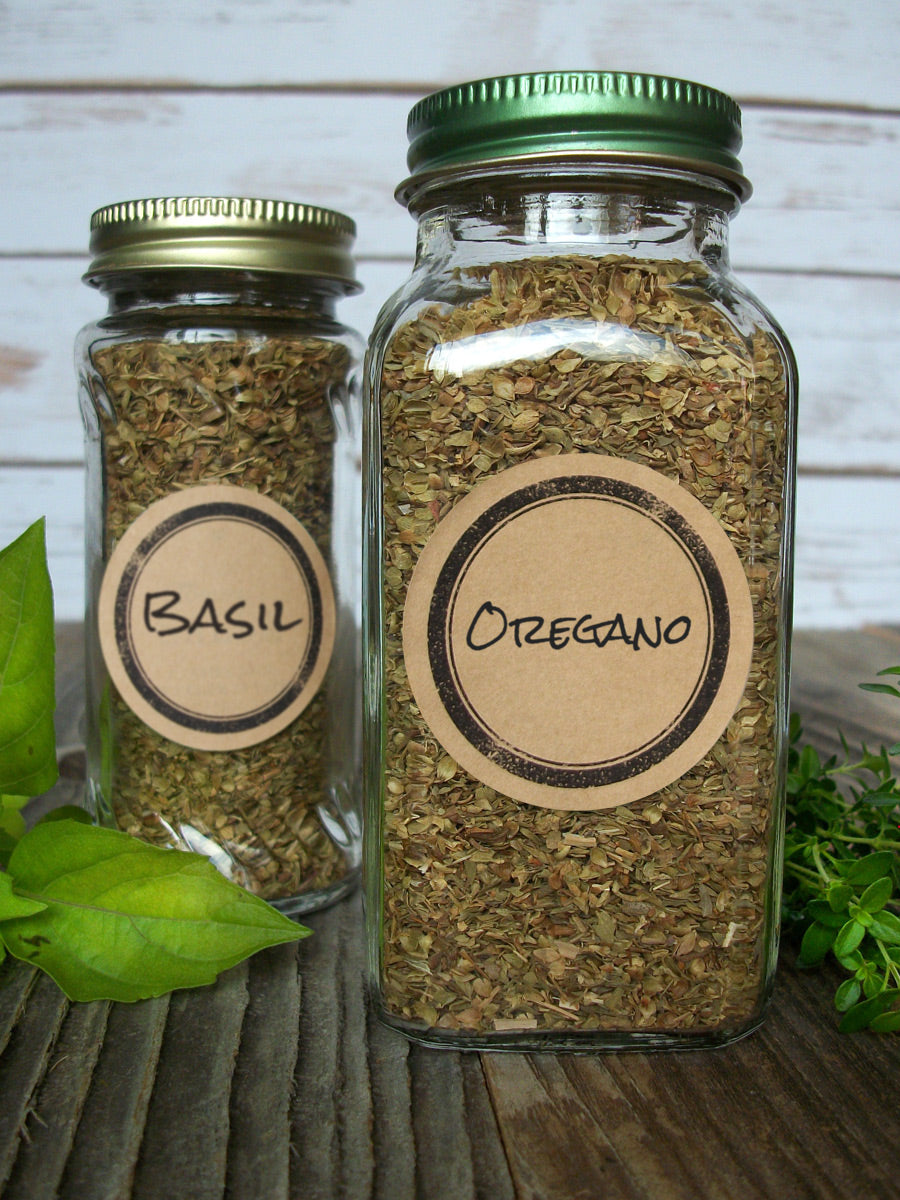 Kraft Rubber Stamp Herb & Spice Jar Canning Labels | CanningCrafts.com